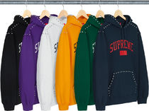 【WEEK8】AW18 SUPREME STUDDED HOODED SWEARTSHIRT /S