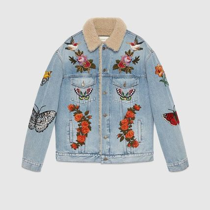 *18FW*Embroidered denim jacket with shearling関税込