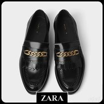 ☆ Men's ZARA☆ LEATHER LOAFERS WITH METAL APPLIQUES