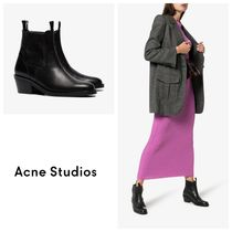 国内発送ACNE STUDIOS Pull-On45 Round-Toe Leather Ankle Boots