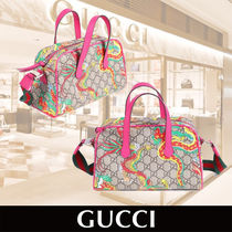 "GUCCI Girls Dragon ""GG"" Print Bag with Pink Trim 関税送料込"