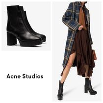 国内発送ACNE STUDIOS Pull-On 95 Platform Leather Ankle Boots
