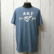 Abercrombie&Fitch アバクロ アップリケ 半袖 Tシャツ 紺 (9033)