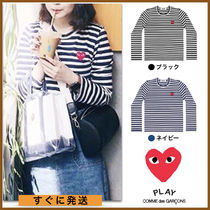 COMME des GARCONS(コムデギャルソン) Tシャツ・カットソー 即発★COMME des GARCONS PLAY プレイ ロンT (ハート×ボーダー)