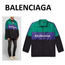 ★BALENCIAGA★Logo-Print Colour-Block Shell Track Jacket