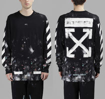 Off-White(オフホワイト) Tシャツ・カットソー 即発送 OFF WHITE GALAXY BRUSHED DIAGONALS ARROW L/S TEE
