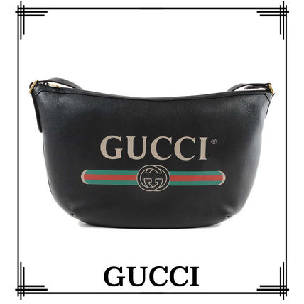 GUCCI★ロゴプリント ハーフムーン ホーボーバッグ