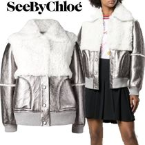 【18AW】★SEE BY CHLOE★shearling patch bomber jacket