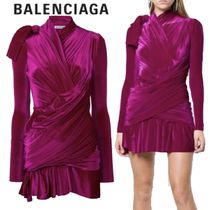【18AW】BALENCIAGA★draped velvet dress