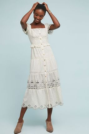Anthropologie☆Frances Embroidered Buttondown Dress
