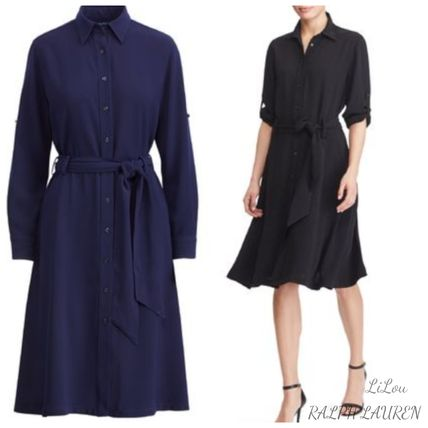 Ralph Lauren★Fit-and-Flare ジョーゼット シャツワンピース