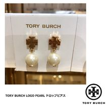 [TORY BURCH] LOGO PEARL DROP EARRING