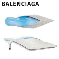 18-19AW【BALENCIAGA】MULES KNIFE PAILLETTES ミュール ARGENT