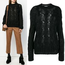 PR1525 MOHAIR BLEND CABLE KNIT SWEATER
