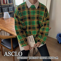 ASCLO★韓国の人気★OVERFIT TRENDY CHECK KNIT 2色