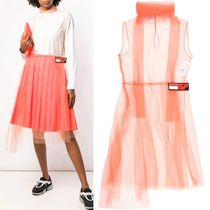 PR1543 TULLE DRESS WITH LOGO PATCH