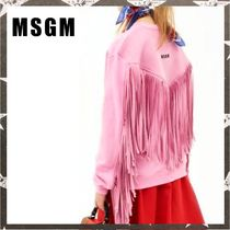 MSGM / FRINGED COTTON SWEATSHIRT ピンク【関税・送料込】