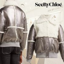 SEE BY CHLOE★Crackled metallic leather and shearling jacket