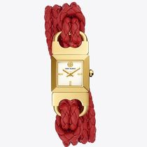 【Tory Burch】DOUBLE T LINK BRAIDED WATCH レッドレザー