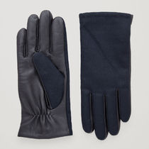 COS(コス) 手袋 COS☆LEATHER AND WOOL GLOVES / navy black