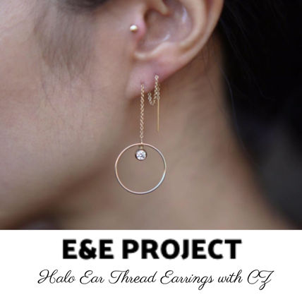 E&E PROJECT★ハロ フープ&スレッド with CZ ピアス GF 送関込