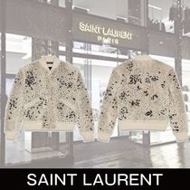 SAINT LAURENT embroidered shearling teddy jacket