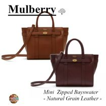 マルベリー☆Mini Zipped Bayswater☆鞄☆2way☆Natural Grain☆
