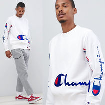 Champion crinkle nylon sleeves ロゴスウェット
