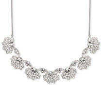 Givenchy ネックレス Silver Tone Clear Crystal Floral