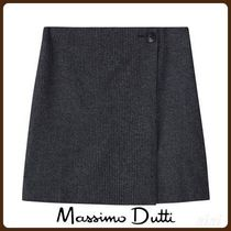 MassimoDutti♪CHECK WOOL SKIRT WITH BUTTON