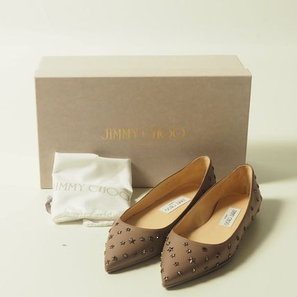 "JimmyChoo☆スタッズWILLIS FLAT""LIGHTMOCHA""[RESALE]"