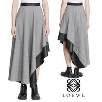 紗栄子さん愛用★LOEWE★Leather Trimmed Asymmetric Midi Skirt