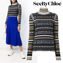 【Last one】 SEE BY CHLOE` LOGO PRINT TURTLE NECK SWEATER
