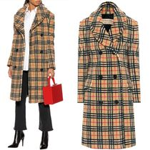 18-19AW BB116 VINTAGE CHECK FAUX SHEARLING COAT