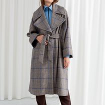 & Other Stories - Belted Plaid Coat Cape
