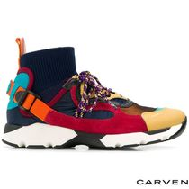 [CARVEN]knit hight-top Nayeli sneakers CV18I7351 RED