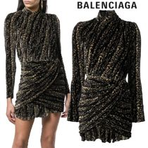 【18AW】BALENCIAGA★golden draped dress