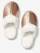FAUX FUR LINED METALLIC SLIPPER