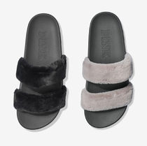 FAUX FUR DOUBLE STRAP SLIDE