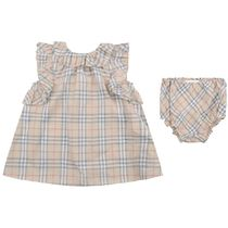 Baby Girls Pale Stone Check Carla Dress With Knickers