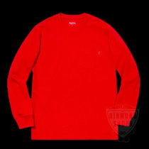 FW18 SUPREME LS POCKET TEE RED 赤 S-XL 送料無料 WEEK11