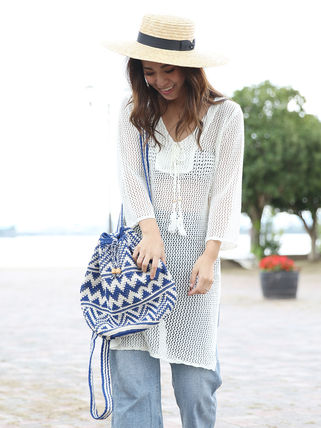 roomy by the sea Vネック長袖チュニック(64-0326)