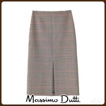 MassimoDutti♪CHECK WOOL SKIRT WITH FRONT SLIT