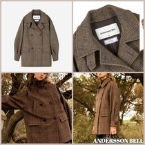 ANDERSSON BELL HIROSI CASHMERE OVERSIZED CHECK PEA COAT