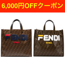 ★関税無料★FENDI Mania brown logo print tote bag