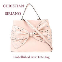 CHRISTIAN SIRIANO(クリスチャン シリアーノ) トートバッグ ★【送関込!】 Embellished bow トートバッグ ★