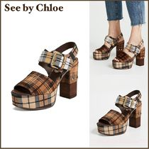 送料込み☆See by Chloe Marta Platform Sandals  チェック柄