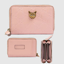 GUCCI / Gucci Signature card case with cat ネコ(ピンク)
