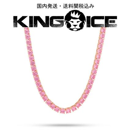 King Ice ネックレス・チョーカー KING ICE☆5mm, Pink CZ Single Row Tennis Chain, 22in
