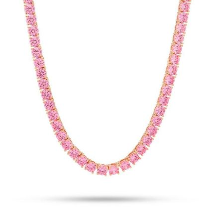 King Ice ネックレス・チョーカー KING ICE☆5mm, Pink CZ Single Row Tennis Chain, 22in(2)